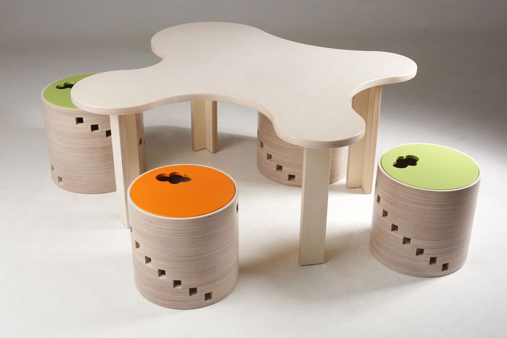 Kids furniture made of birch plywood.