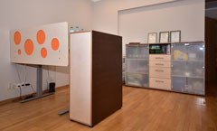 Height adjustable table, filing cabinet and wall-unit from collection UP