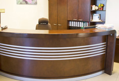 Reception desk and filing cabinets from the collection GEMO