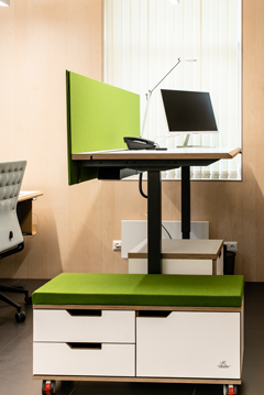 Height adjustable table, filing cabinet on wheels